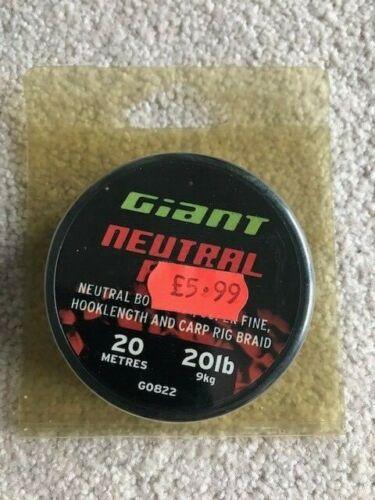 GIANT NEUTRAL FINE CARP RIG BRAID 20 METRE SPOOL