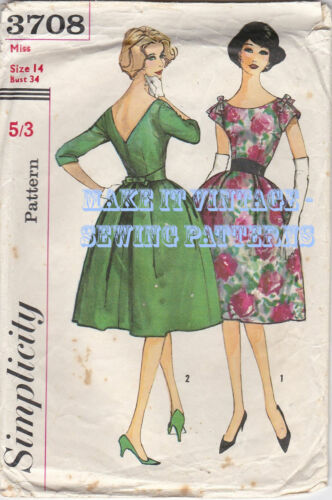 Vintage 50/'s 3708 Evening Wedding Prom V Back Dress Sewing Pattern Eve Kendall.