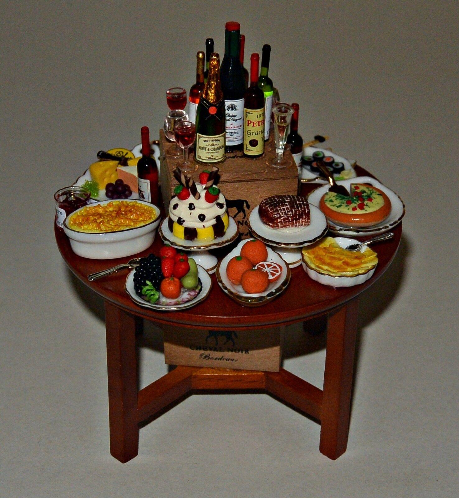 Buffet  aufgebaut mit rundem Tisch  1:12 - Puppenmöbel , Puppenstuben