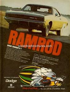 1968 DODGE CHARGER R/T A3 POSTER AD SALES BROCHURE MINT ADVERTISEMENT ADVERT