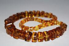 Bernstein Optik Amber Style Kette Würfel XXL Necklace ca. 71cm  - TOP -