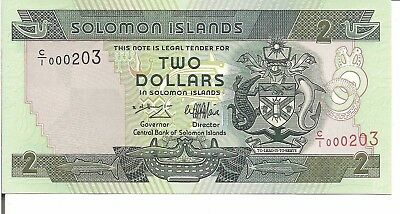 Unc 1997 nd Enthusiastic Solomon Islands Low Serial # C/i 000203 Lucky Number Consumers First P#18 $2