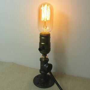 One socket iron pipe bedside table desk lamp light retro for Industrial pipe light socket