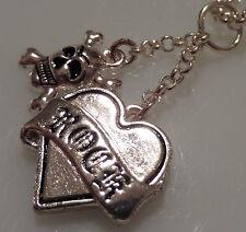 silver plated Rock God skull charm drop pendant