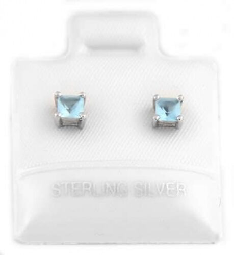 SILVER BIRTH MONTH MARCH CUBIC ZIRCONIA CHILD POST EARRINGS 3mm