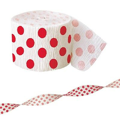 30ft Red White Polka Dot Spot Style Party Crepe Paper Streamer Decoration