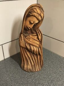 Vintage-Hand-Carved-Solid-Wood-Ethnic-Woman-14-Tall-Old-Wood-Carving