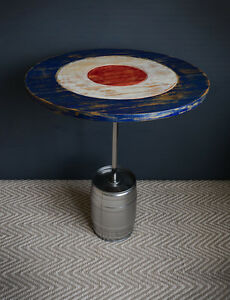 Coffee side or end table made from an upcycled beer keg with target