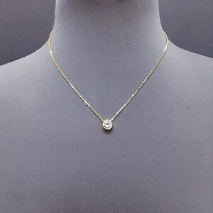 Gold dainty chain cubic zirconia clear stone pendant necklace n image is loading gold dainty chain cubic zirconia clear stone pendant aloadofball Images