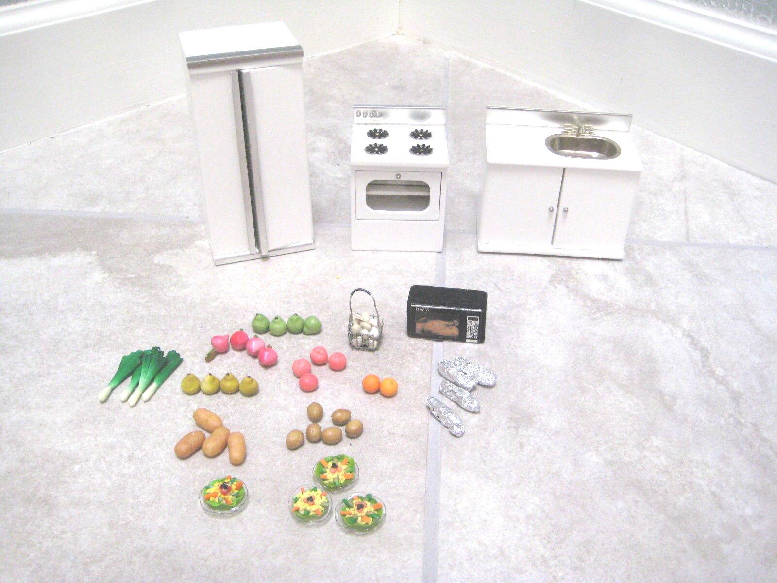 bambolahouse Miniature KITCHEN OVEN  SINK REFRIGERATOR Vegetables Salad FRUITS 1 12  fino al 50% di sconto