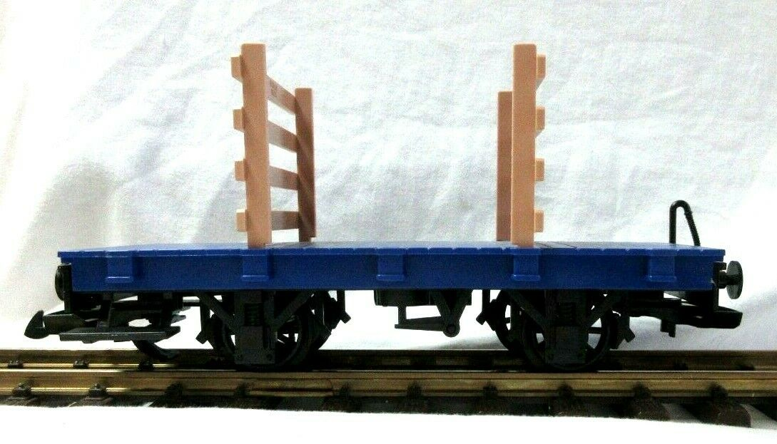LGB  blueE FLAT CAR W  WOOD SLAT ENDS