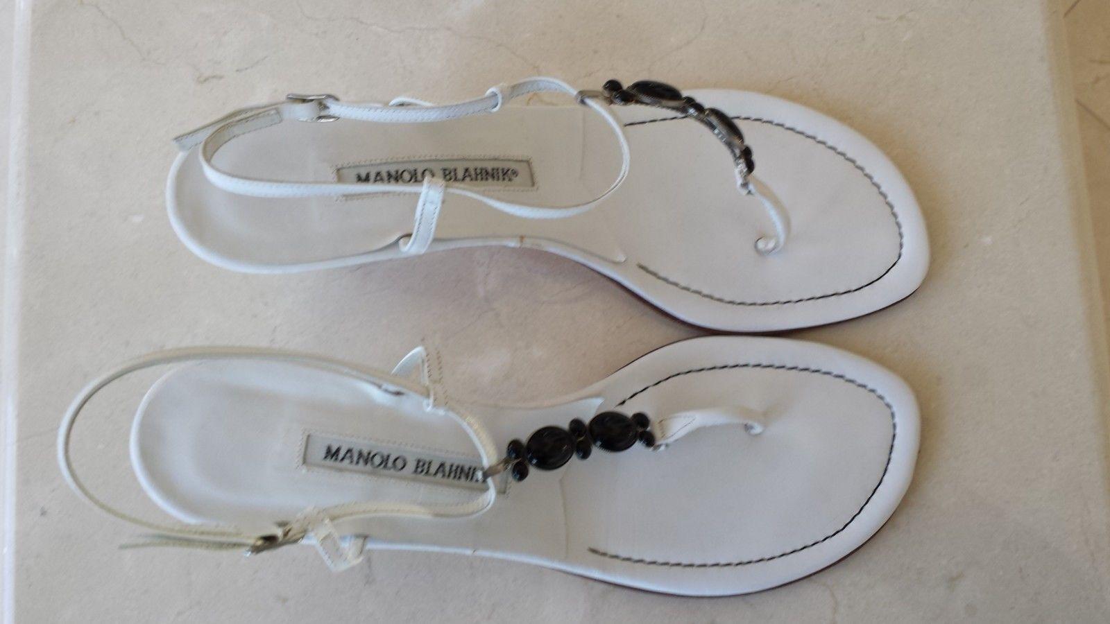 Manolo Blahnik blancoo Sandalias De Cuero Negro Con Cuentas Adorno Adorno Adorno Tacones 39 9  entrega rápida