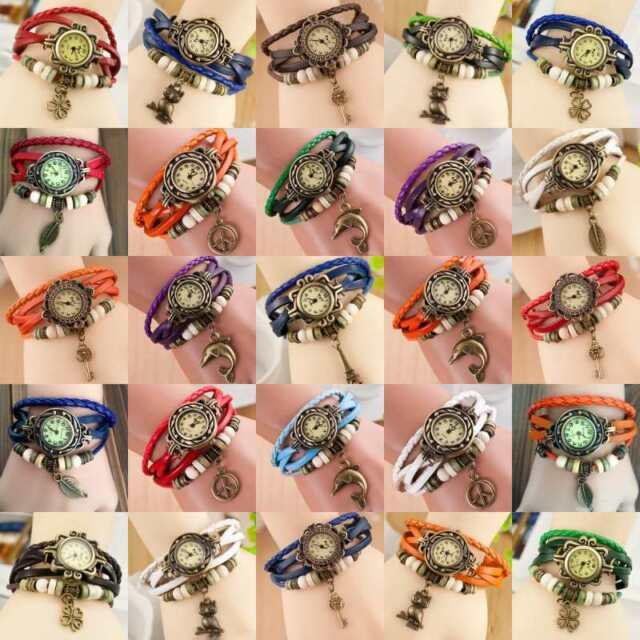 Women Fashion Cute Jewelry Clover Decoration Charm Bracelet Quartz Wrist Watches