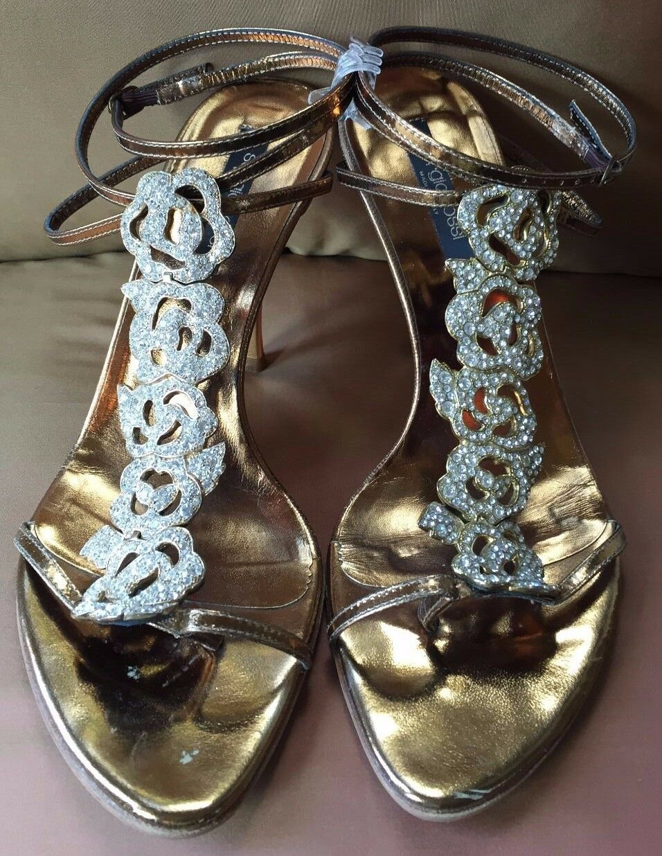 SERGIO ROSSI Bronze Bronze ROSSI Metallic and Jeweled Strappy High Heeled Sandals~37.5~Italy ddb9e0