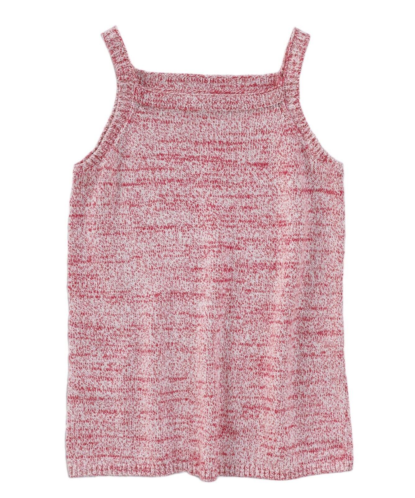 LOFT Women's L - NWT Pink & White Striped Cotton Linen Sweater Tank Top