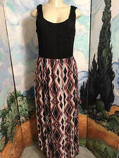 LILY ROSE L BLACK/PURPLE MULTI SHEER LINED CROCHET TOP FULL LENGTH TANK DRESS