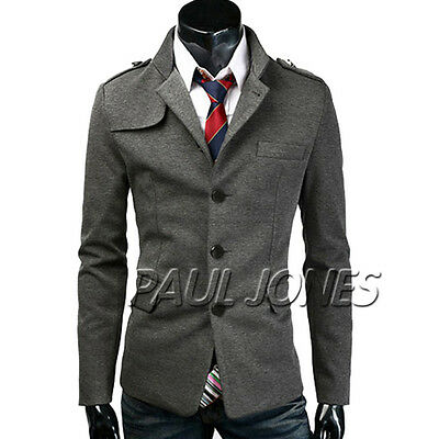 FASHION Mens Pea Coat Single Breasted Formal Winter Jacket Overcoat Parka S~2XL