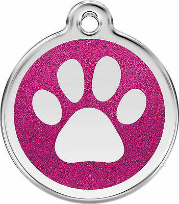 RED DINGO ID TAGS DOG/CAT GLITTER PAW TAG STAINLESS STEEL ENAMEL FREE ENGRAVING