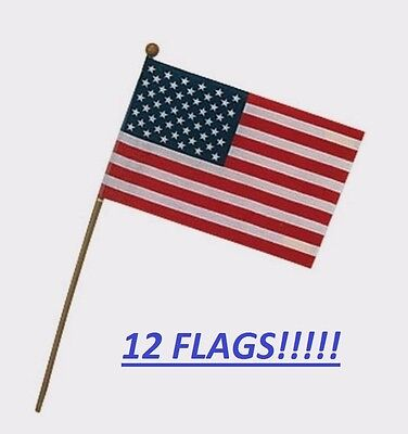 "**12** Valley Forge Small Stick Flag 4""x6"" Polycotton United States US American"