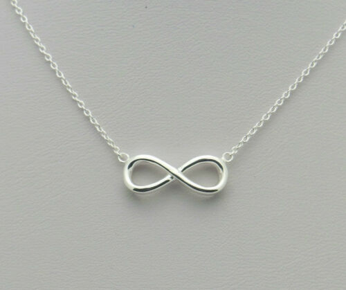 .925 Sterling Silver Infinity Eternity Figure Eight Symbol Necklace