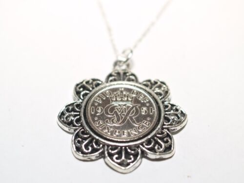 20 inch Sterling Silver Chain Floral Pendant 1945 Lucky sixpence 74th Birthday