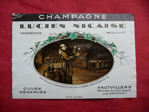 Ancienne-etiquette-de-vin-CHAMPAGNE-LUCIEN-NICAISE-old-french-wine-label