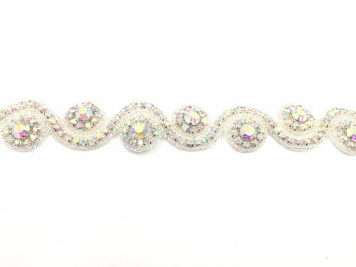 1 Yard Diamante Bridal Rhinestone Belt Bridal lace Trim for Wedding Dresses