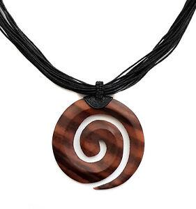 Swirl Boho Tribal Chunky Tribal Sono Wood Pendant Beads Necklace Jewelry BA050