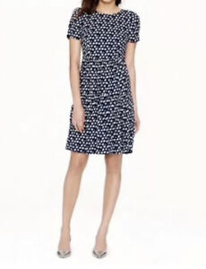 J. Crew Style A1380 Dark Blue in Blurred Floral Tiered Dress Women's 12