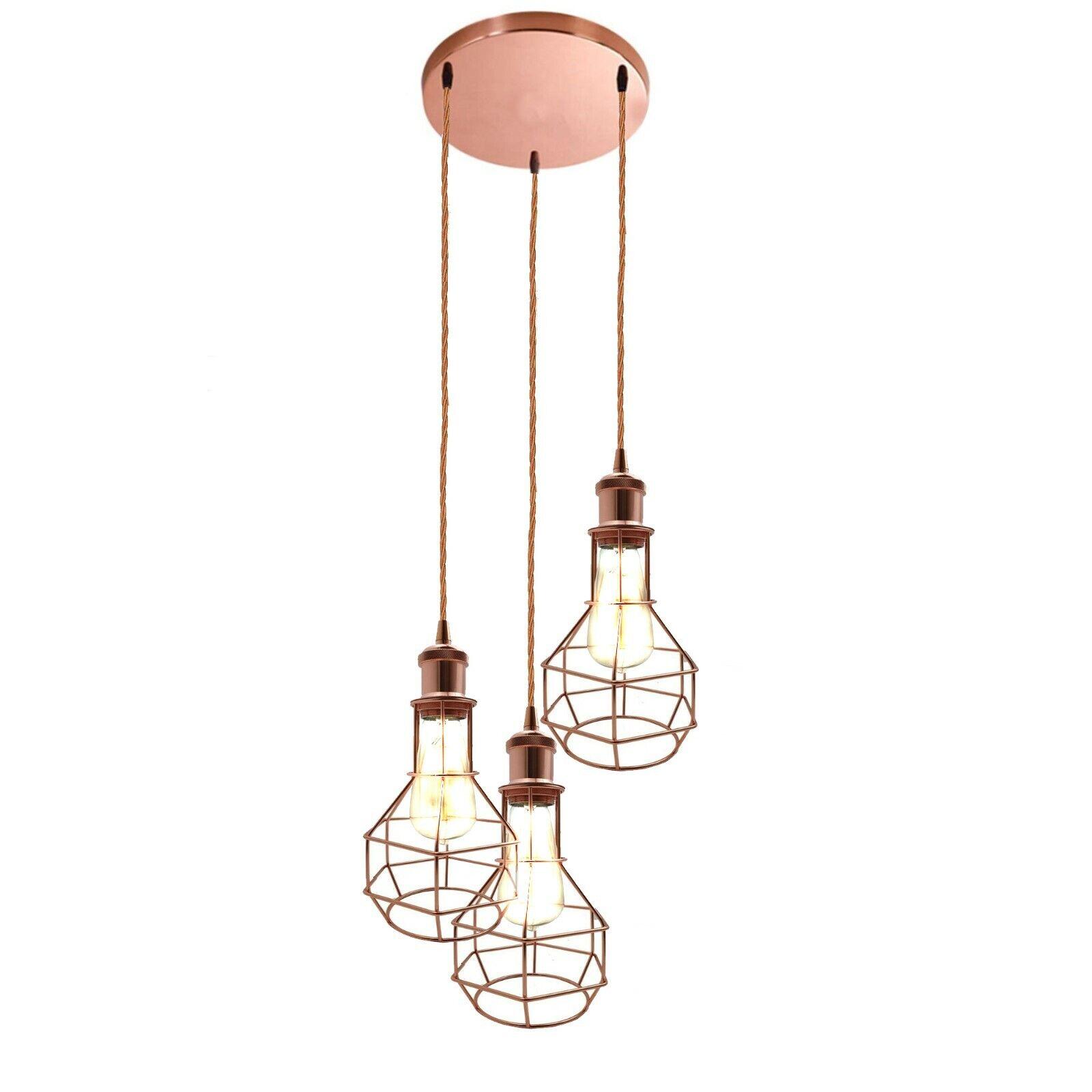 Modern Decke Anhänger Gruppe Beleuchtungskörper Vogelkäfig Stil 3 Kopf Lichter