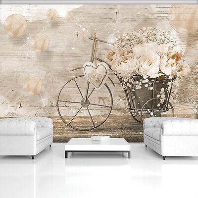 Koop Goedkoop Vlies Poster Wandbild Tapeten Foto Fahrrad Rosen Herz Beige Holz 3fx3667ve