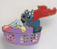DISNEY WDW DLR STITCH RED CAPE IN LAUNDRY BASKET WITH BIKINI TOP ON HIS HEAD PIN