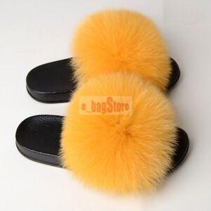 fc6d0f762 Women Fluffy Real Fox Fur Slipper Luxury Summer Slides Flat Sandal ...