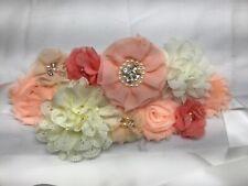 FANFAN Ribbon Flower Belt Baby Shower Wedding Sash Rose Maternity Belt Y050