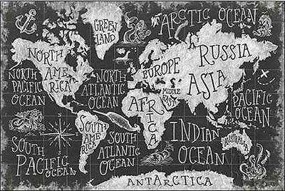 Mary Urban: Mythical Map I Keilrahmen-Bild Leinwand Weltkarte Vintage Schrift