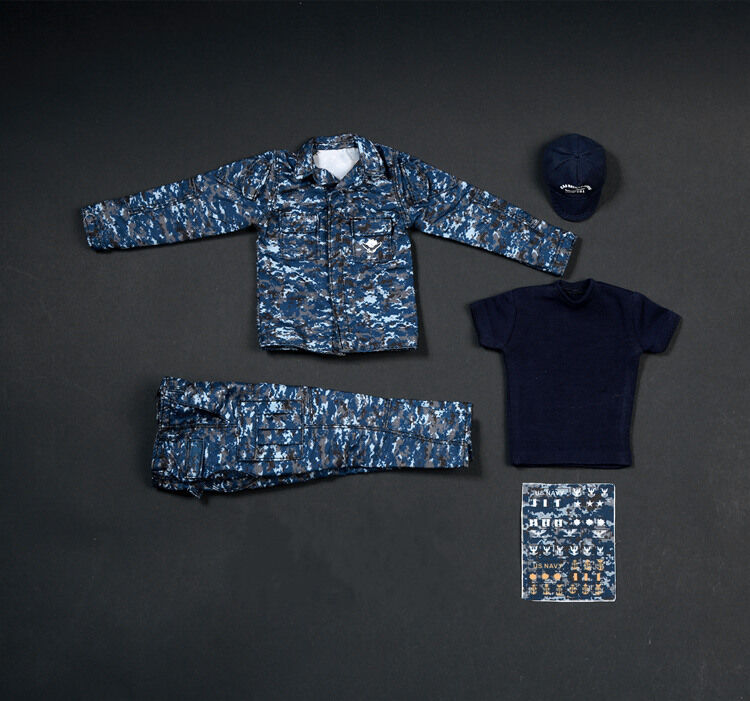 1 6 Scale U.S. NAVY NWU bluee Camouflage Training Suit Fit For 12  Figure Set B