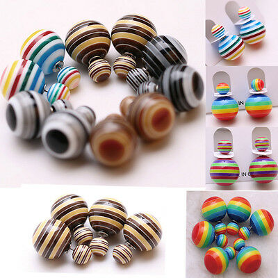 New Celebrity Double Round Ball Beads Ear Plug Stud Earrings