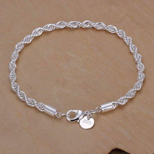 Sturdy High Quality Casual Gift Party Unique 925 Sterling Silver Rope Bracelet