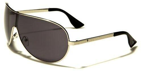 Khan Aviator Shield Sunglasses Mens Womens Curved Sleek 400UV Mono Lens