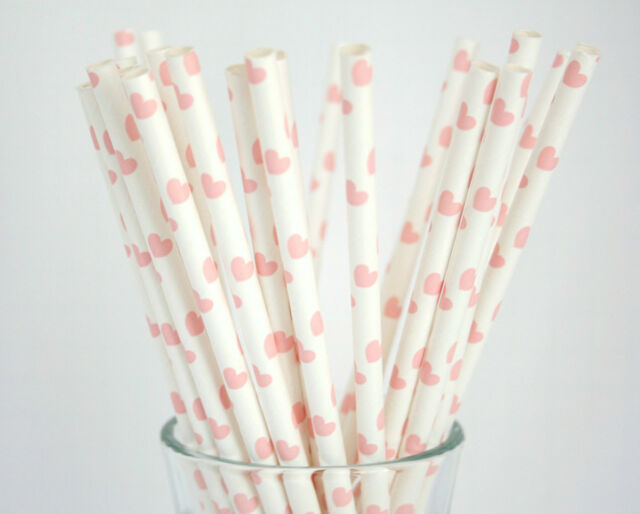 100pcs light pink love hearts paper straws wedding baby shower party tableware