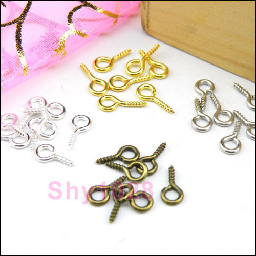 100Pcs Screw Eye Pins Findings 4x9mm Silver/Gold/Dull Silver/Bronze R5021