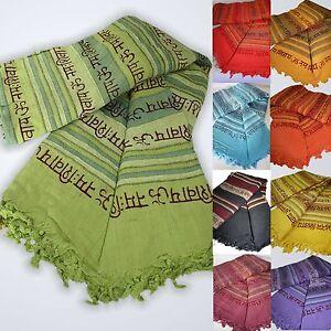 Tagesdecke-Bettueberwurf-Baumwolle-XL-Decke-Sofaueberwurf-Webdecke-MANTRA-OM-Shiva