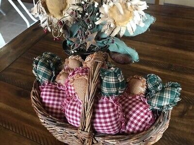 New Rag Quilt Plaid Ornies Bowl Fillers PrImITive Red Apples Country Farmhouse