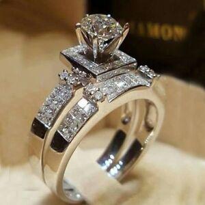 Chic-Women-White-Sapphire-Silver-Ring-Set-Wedding-Engagement-Jewelry-Gift-Sz6-10
