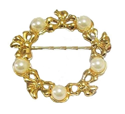 Gold Pearl Antique Vintage Bouquet Brooch Pin Women Ladies Dress Gift Jewellery