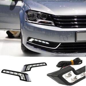 2X-Car-Vehicle-6-LED-Daytime-Running-Light-DRL-Kit-Fog-Lamp-Day-Driving-Daylight