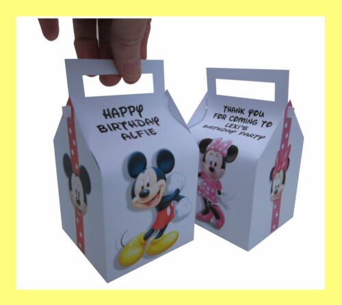 Pack of 12 Mickey and Minnie Mouse Personalised Single Cupcake or Gift Boxes