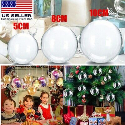 15//30x Clear Plastic Ball Baubles Sphere Fillable Box Christmas Ornament DIY US