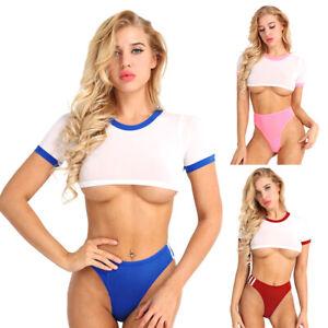 7a9012bbe6c 2pcs Women Bikini Set Sexy Crop Top Briefs Underwear Swimwear ...