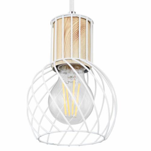 Retro LED Decken Hänge Leuchte weiß Käfig Strahler Holz Design Filament Lampe